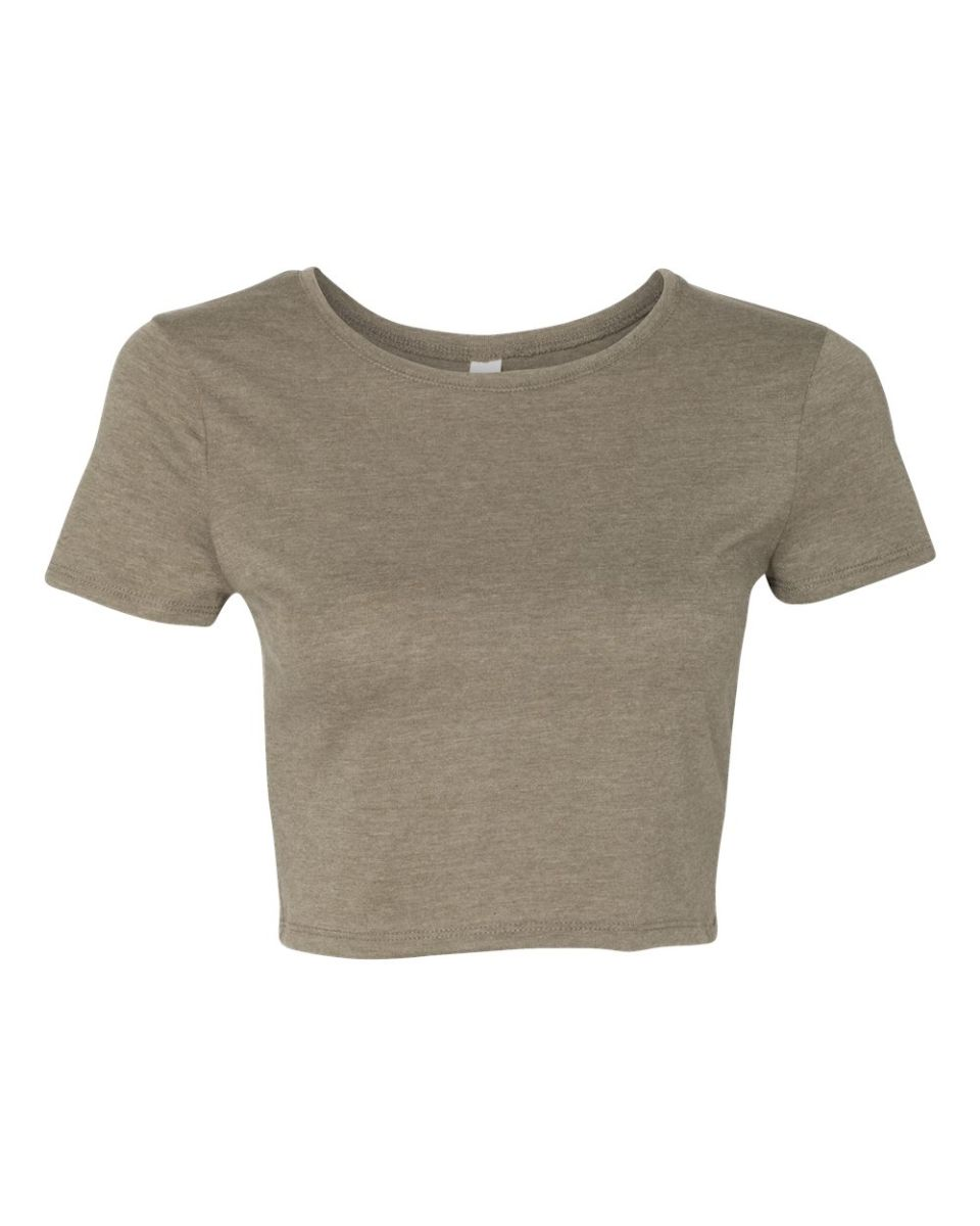 d8555940a9ec4c ... BELLA 6681 Womens Poly-Cotton Crop Top HEATHER OLIVE ...