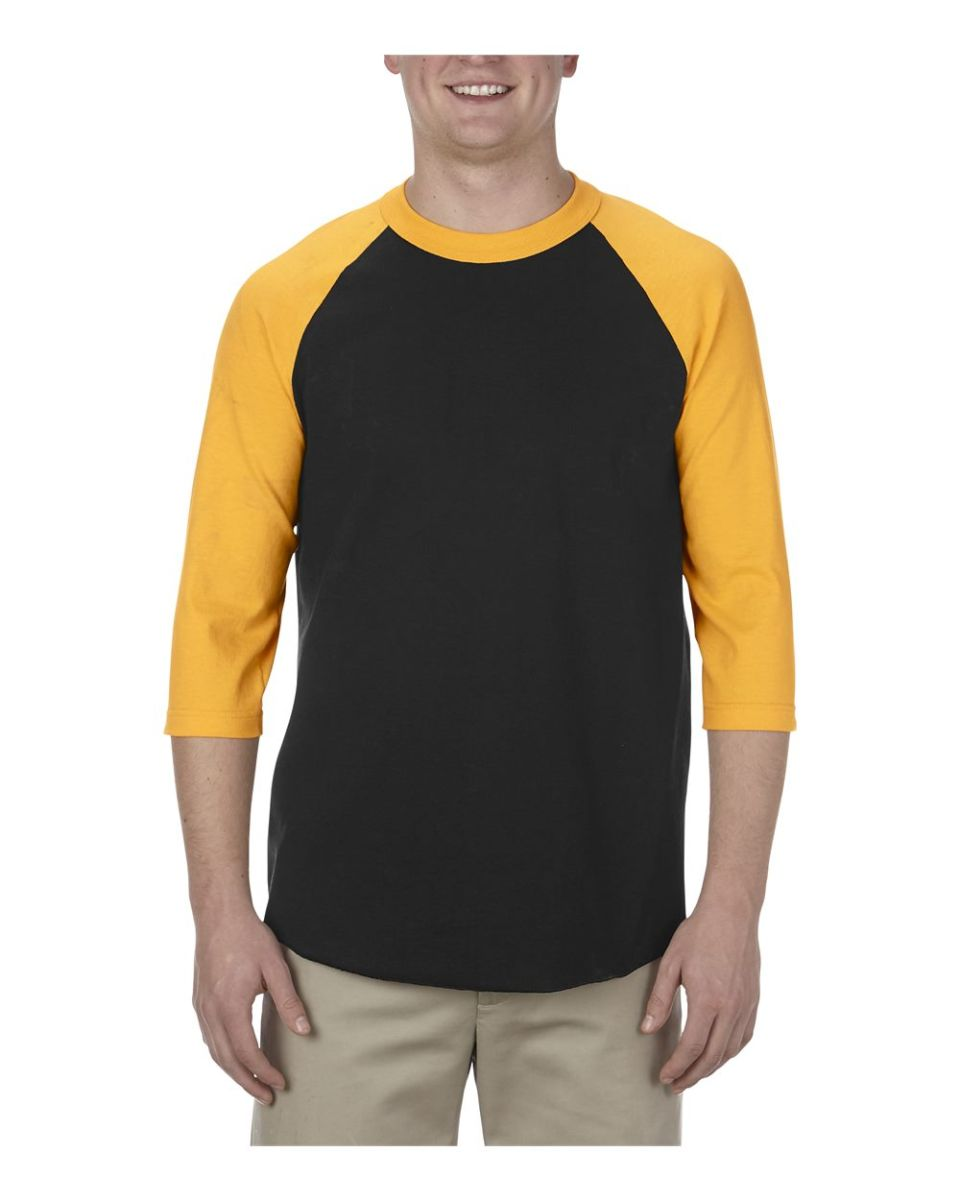 ccdb3a19f50c ... Alstyle 1334 Adult Baseball Tee Black/ Gold ...