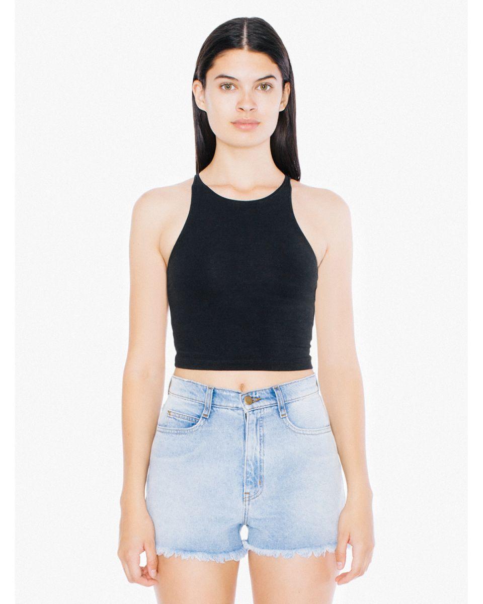 4aef3bb471187 American Apparel 8369W Ladies  Cotton Spandex Sleeveless Crop Top Black