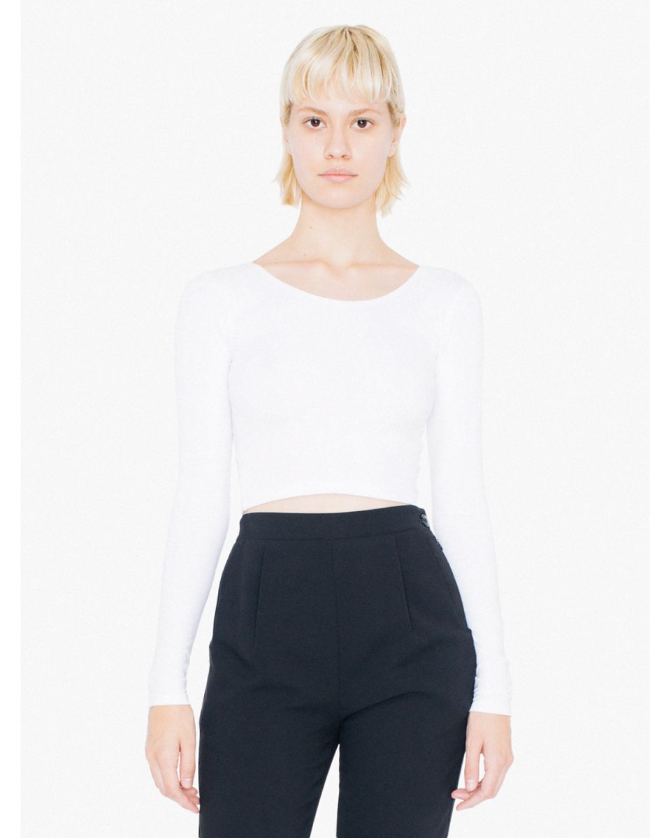 d5ec849e48d99 American Apparel 8379W Ladies  Cotton Spandex Long Sleeve Crop Top White