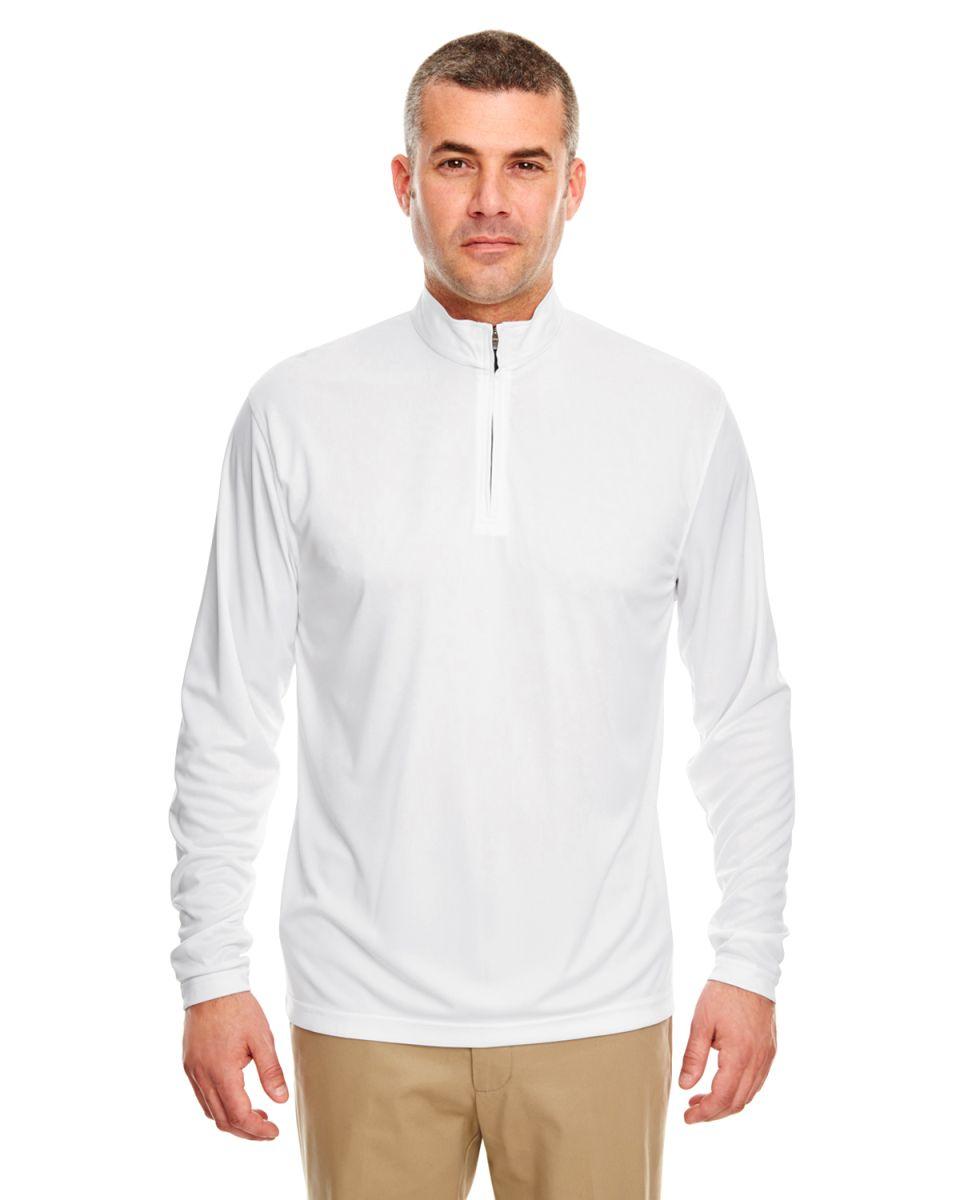 7d03d0e28e9 UltraClub 8424 Men s Cool   Dry Sport Performance Interlock Quarter-Zip  Pullover WHITE