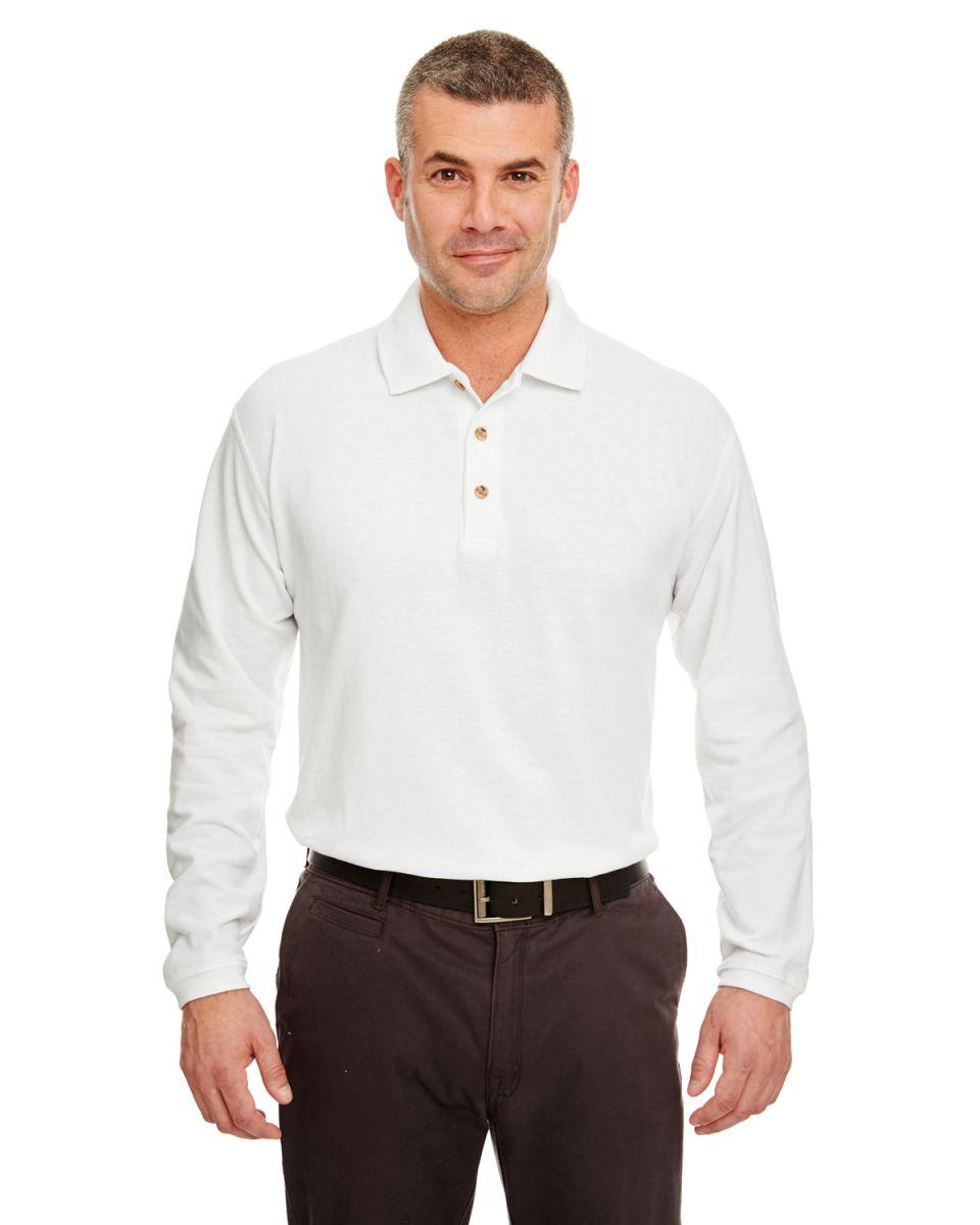 White Long Sleeve Polo Dress Shirt