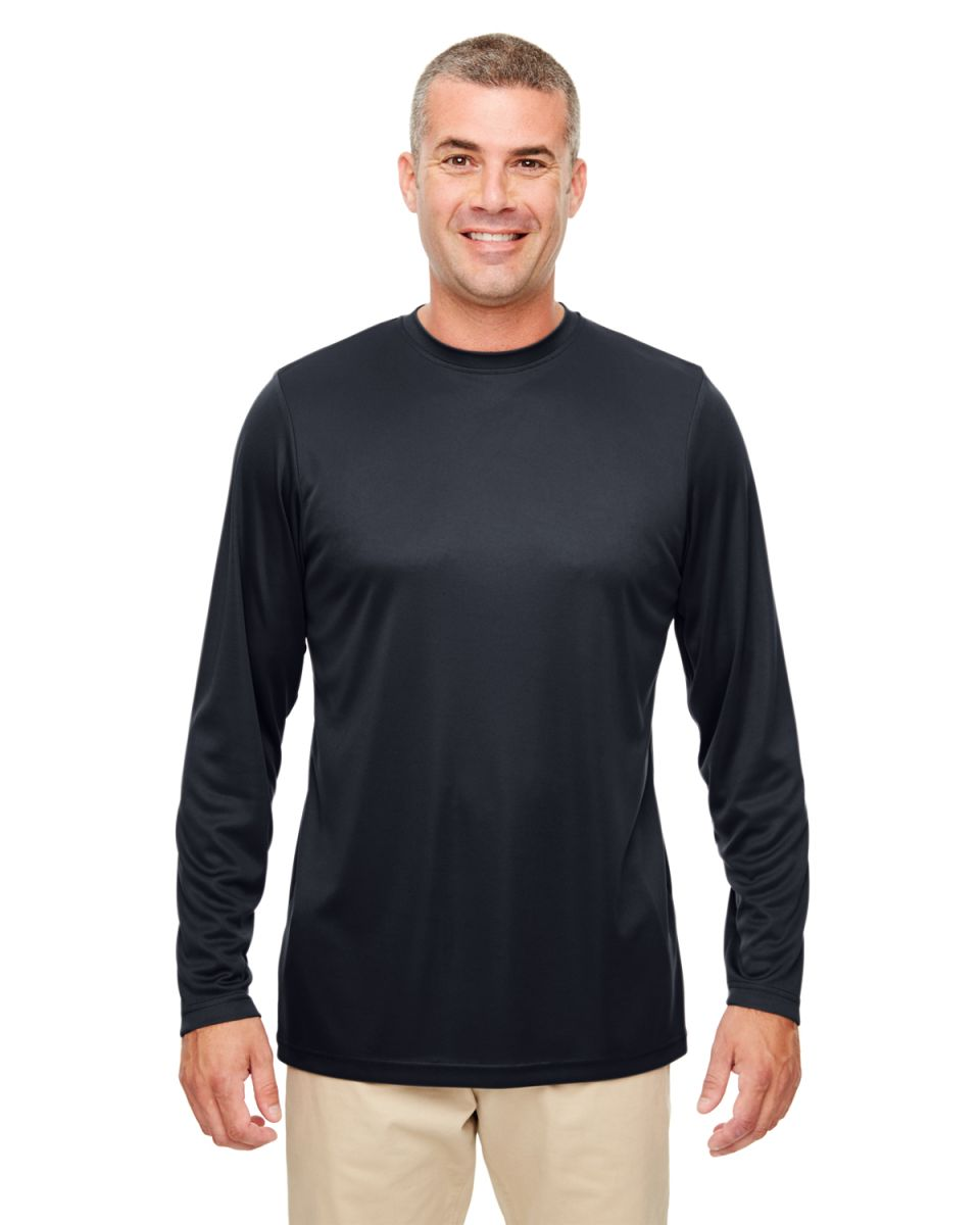61bf8d0a6d9 UltraClub 8622 Men s Cool   Dry Performance Long-Sleeve Top BLACK