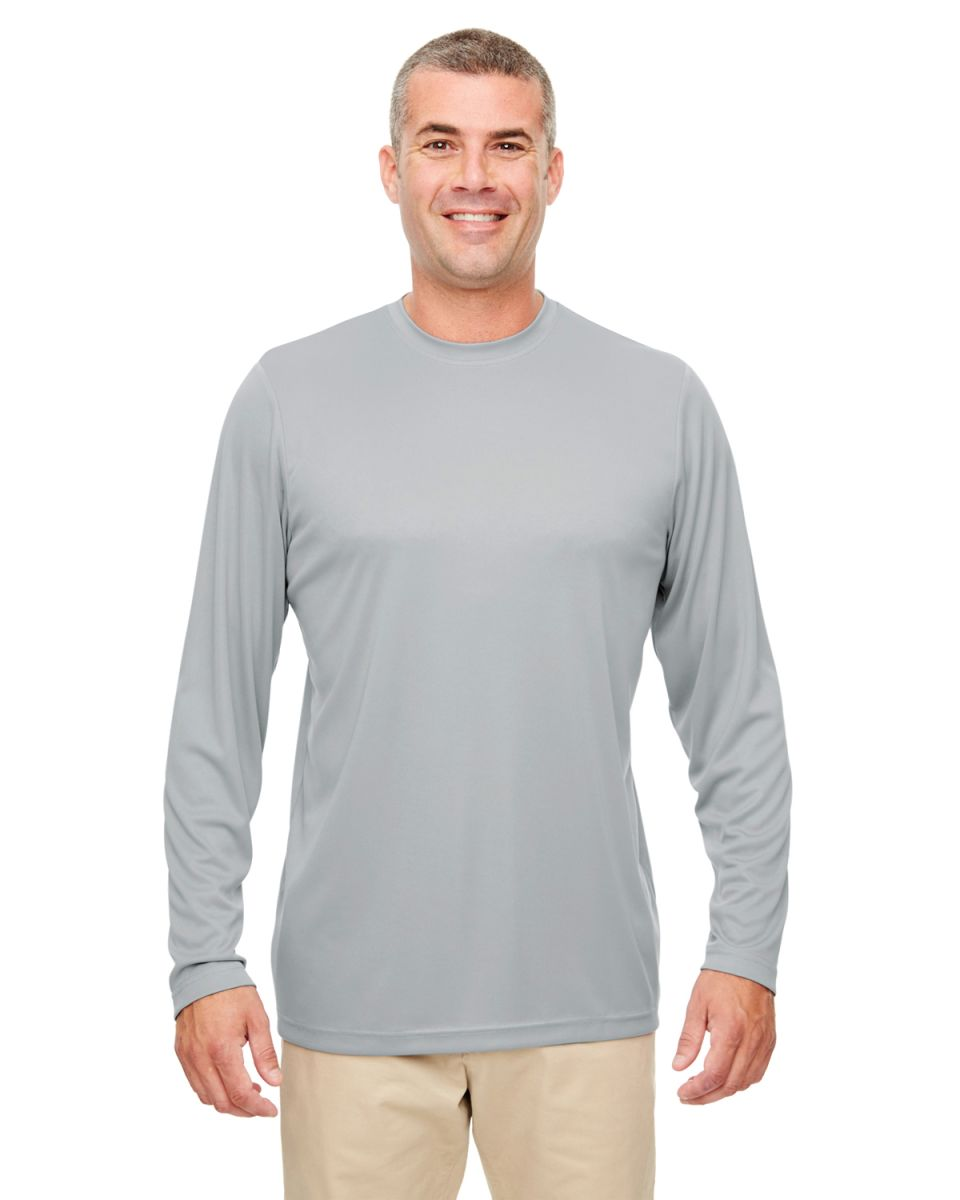 42e0cb1bf0b ... UltraClub 8622 Men s Cool   Dry Performance Long-Sleeve Top GREY ...