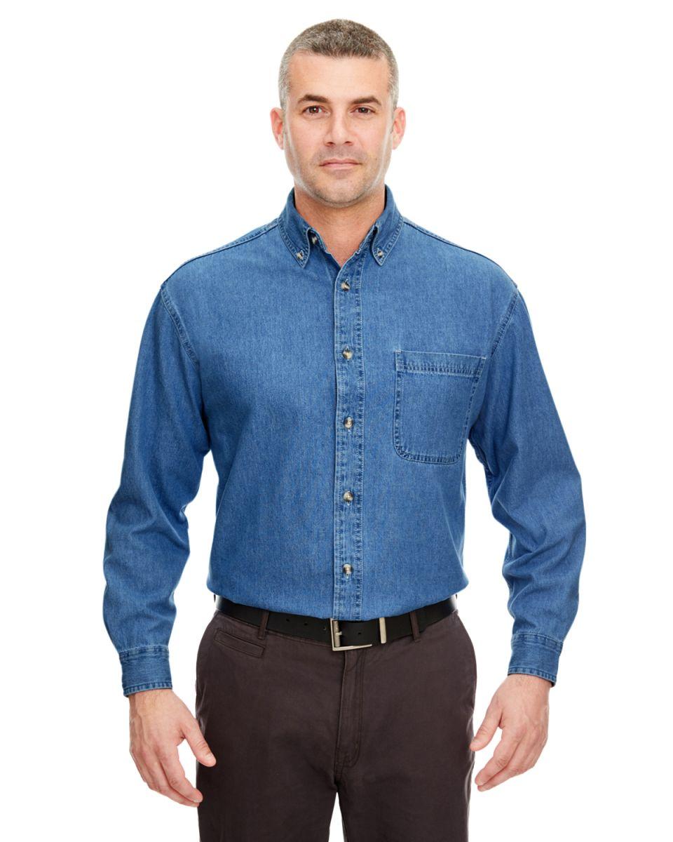 1a259ff8123 8960 UltraClub® Men s Cypress Denim Button up Shirt INDIGO