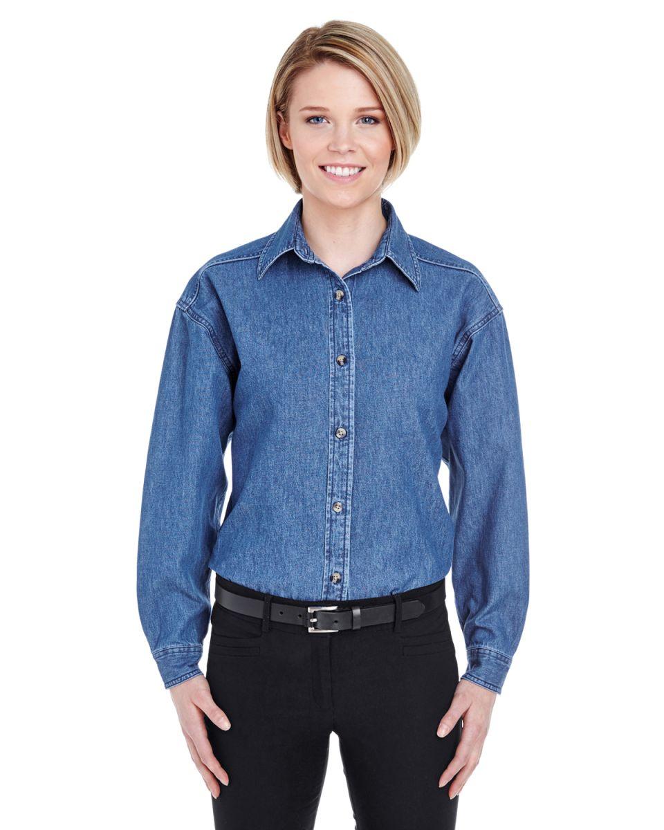 a6d1c5610f2 8966 UltraClub® Ladies  Long-Sleeve Cotton Cypress Denim Woven Shirt