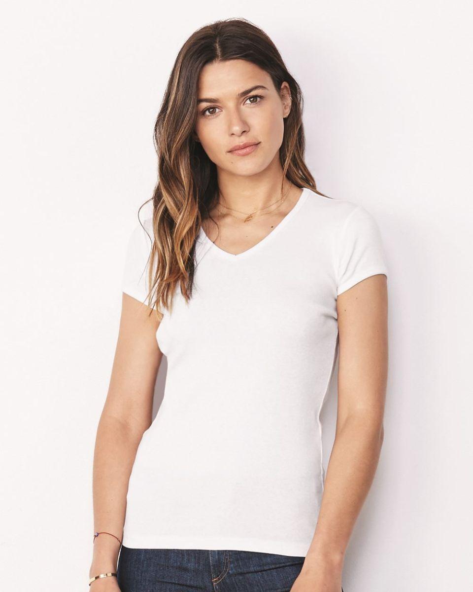 22f2c7bcb75 BELLA 1005 Womens Baby Rib V-Neck T-shirt