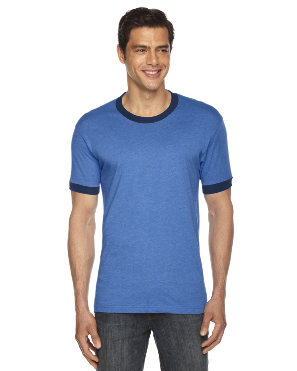 7cb66ab78212 American Apparel BB410 Unisex Poly-Cotton Short Sleeve Ringer T-Shirt H  Lake Blue