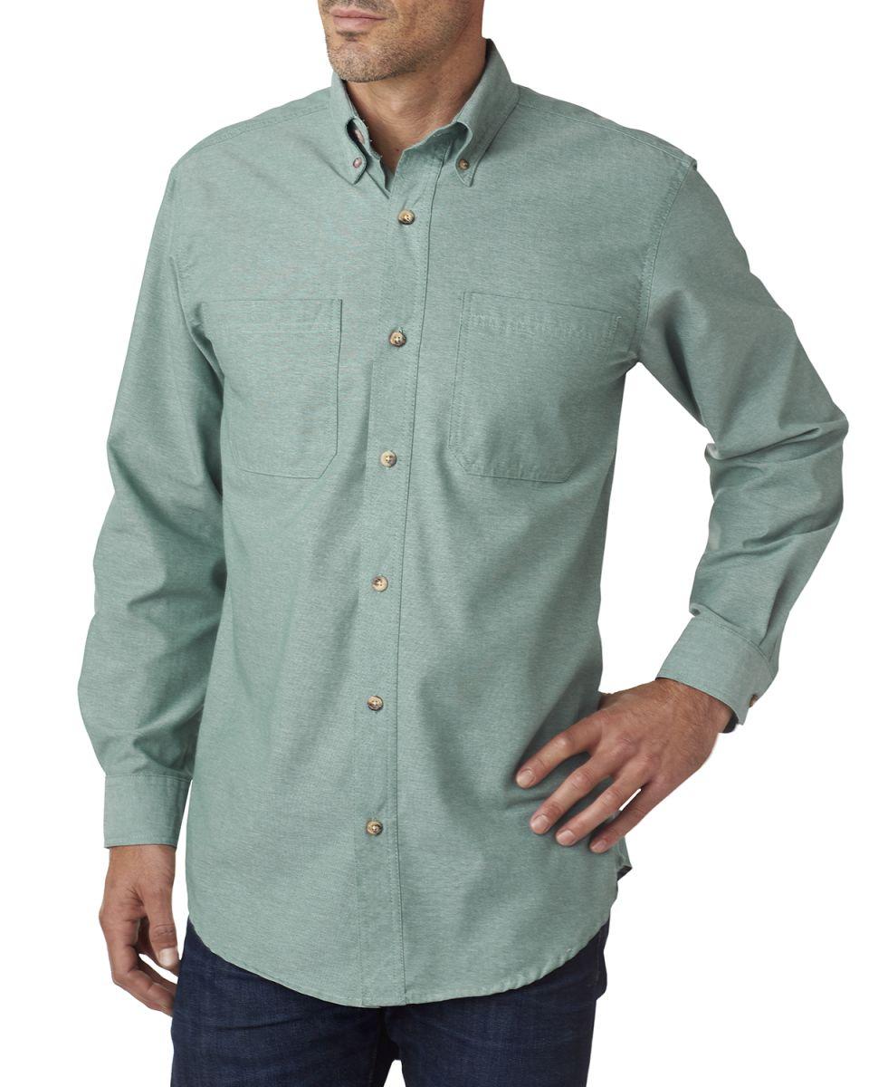 Backpacker Mens BP7004 Yarn-Dyed Chambray Woven Long Sleeve Button Down Shirt