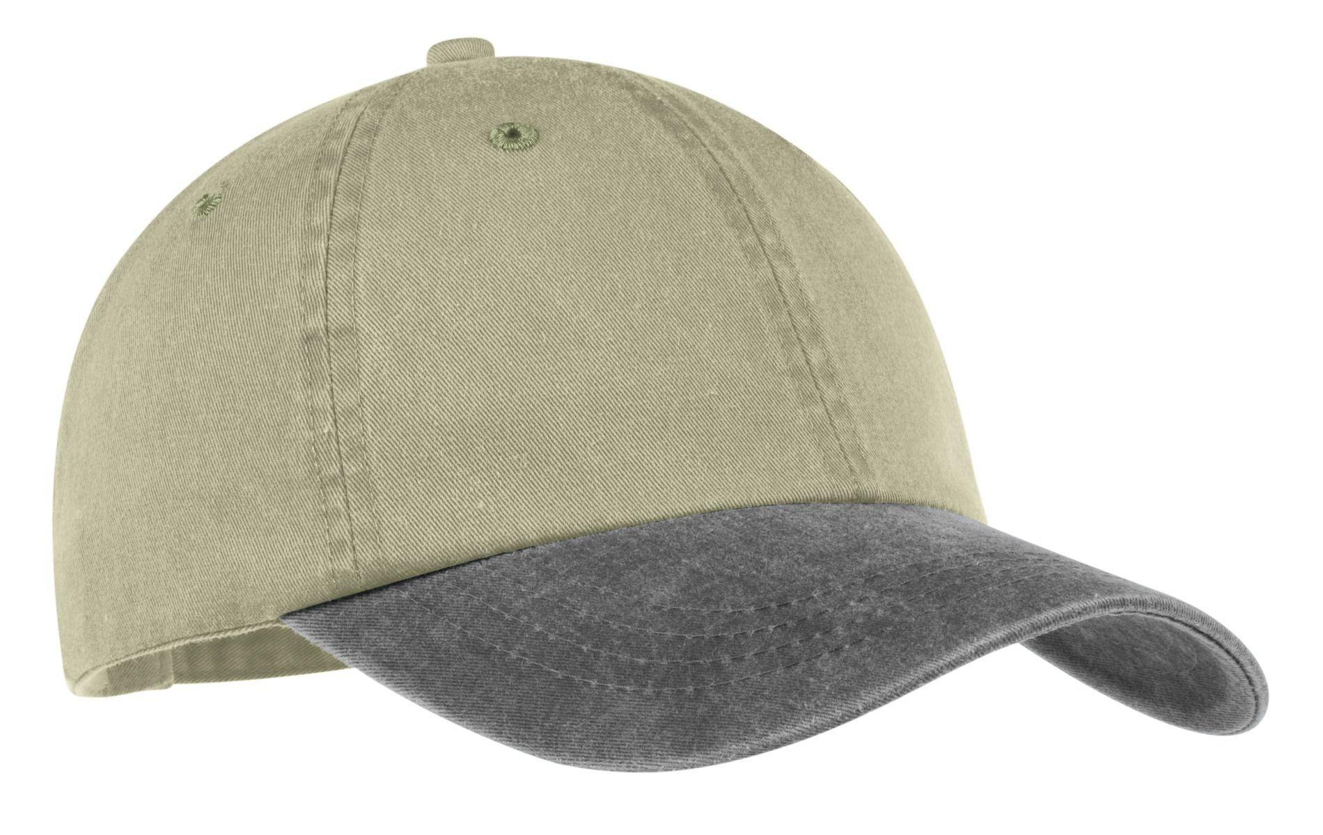 d333fb5107fd9 ... Port & Company CP83 Pigment-Dyed Dad Hat Khaki/Charcoal ...