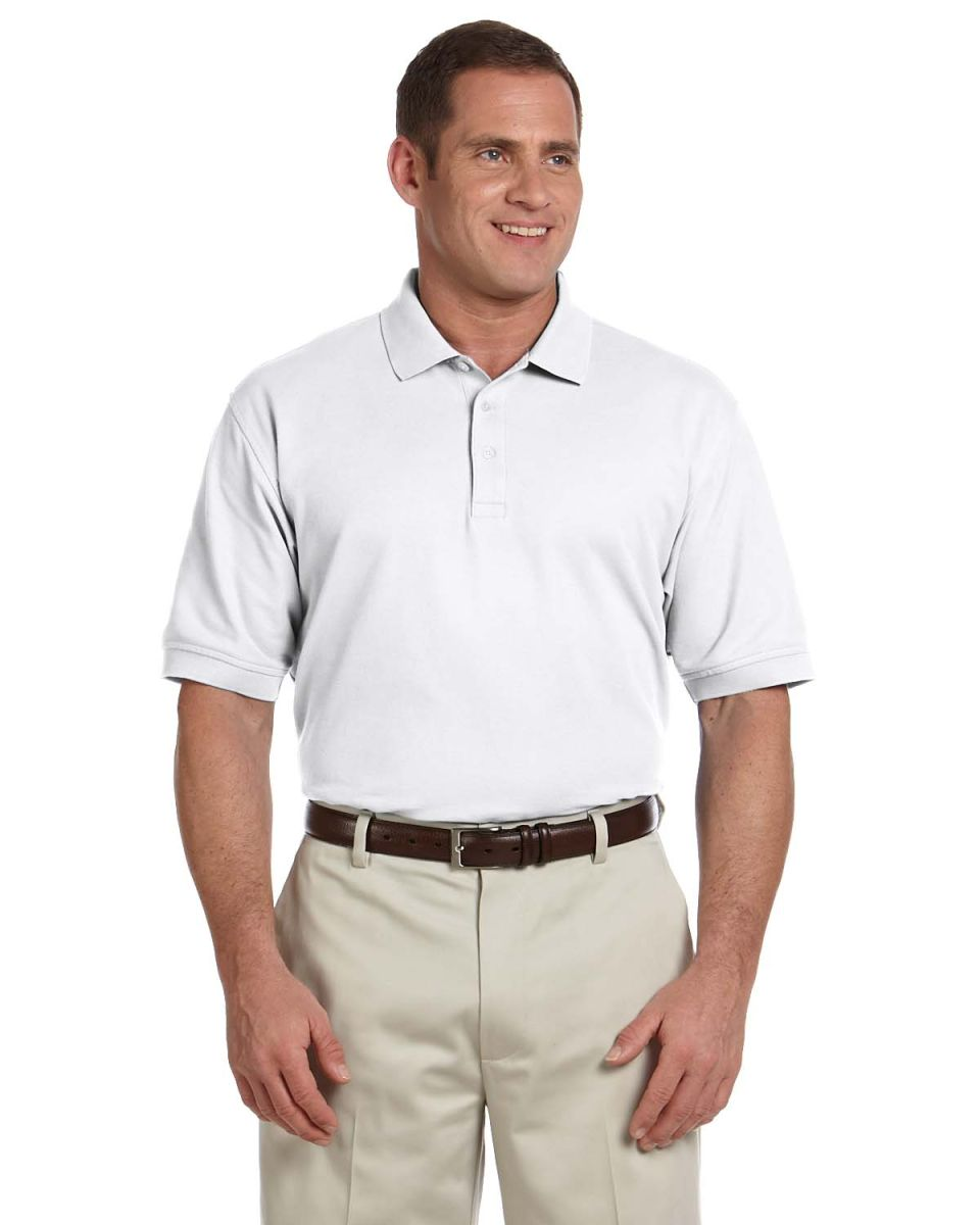 e151e063 D100 Devon & Jones Men's Pima Pique Short-Sleeve Polo WHITE