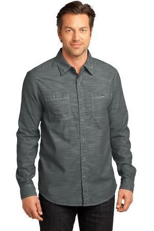 27f2c05c DM3800 District Made Mens Long Sleeve Washed Woven Shirt
