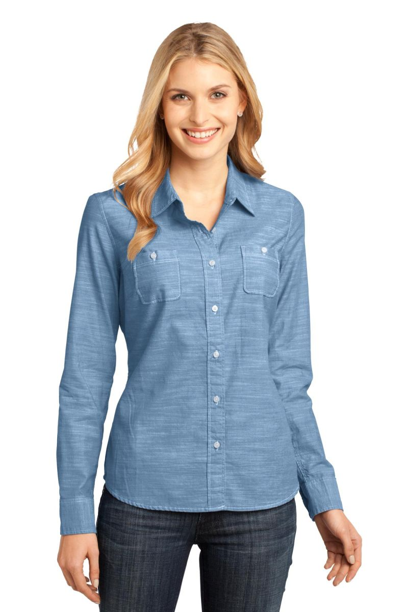 639bf4d3 DM4800 District Made Ladies Long Sleeve Washed Woven Shirt