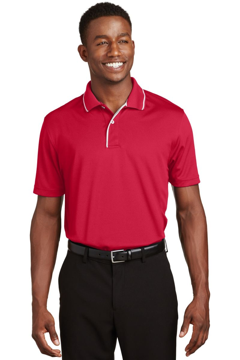 d46baaaba9 Sport Tek Dri Mesh Polo with Tipped Collar and Piping K467