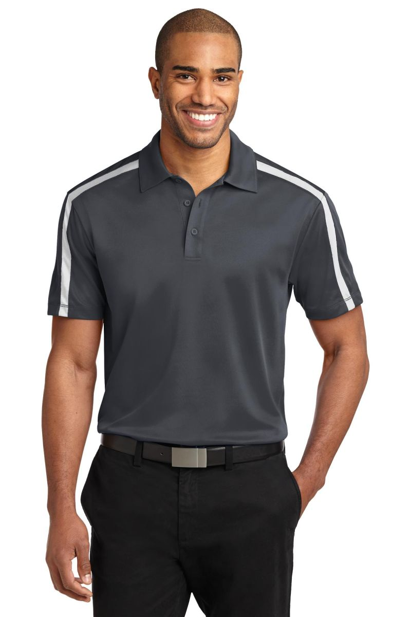 66b49c75 ... K547 Port Authority® Silk Touch™ Performance Colorblock Stripe Polo  Steel Gy/White ...