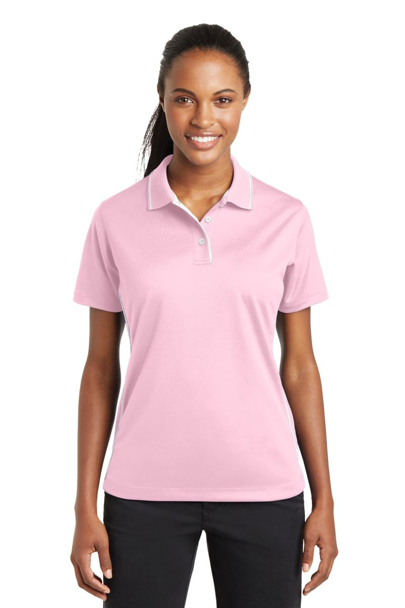 d30a23f1 Sport Tek Ladies Dri Mesh Polo with Tipped Collar and Piping L467. Style: