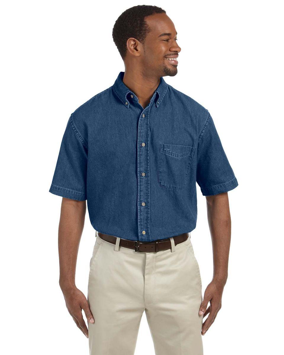 095c13504b4 Harriton M550S Men s 6.5 oz. Short-Sleeve Denim Shirt DARK DENIM