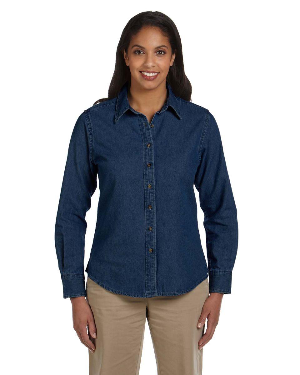94570c64bea Harriton M550W Ladies  6.5 oz. Long-Sleeve Denim Shirt DARK DENIM