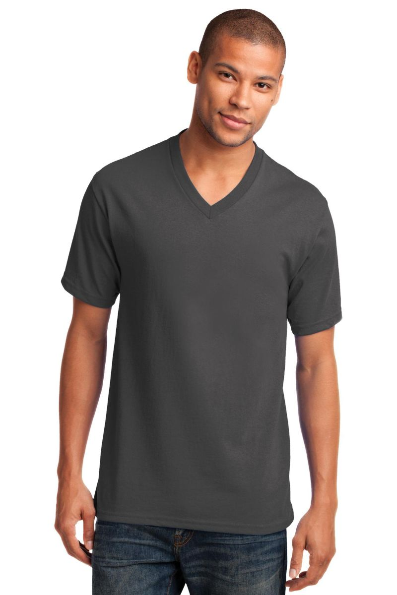 ff6d79067cda ... Port & Co PC54V mpany Core Cotton V-Neck Tee Charcoal ...