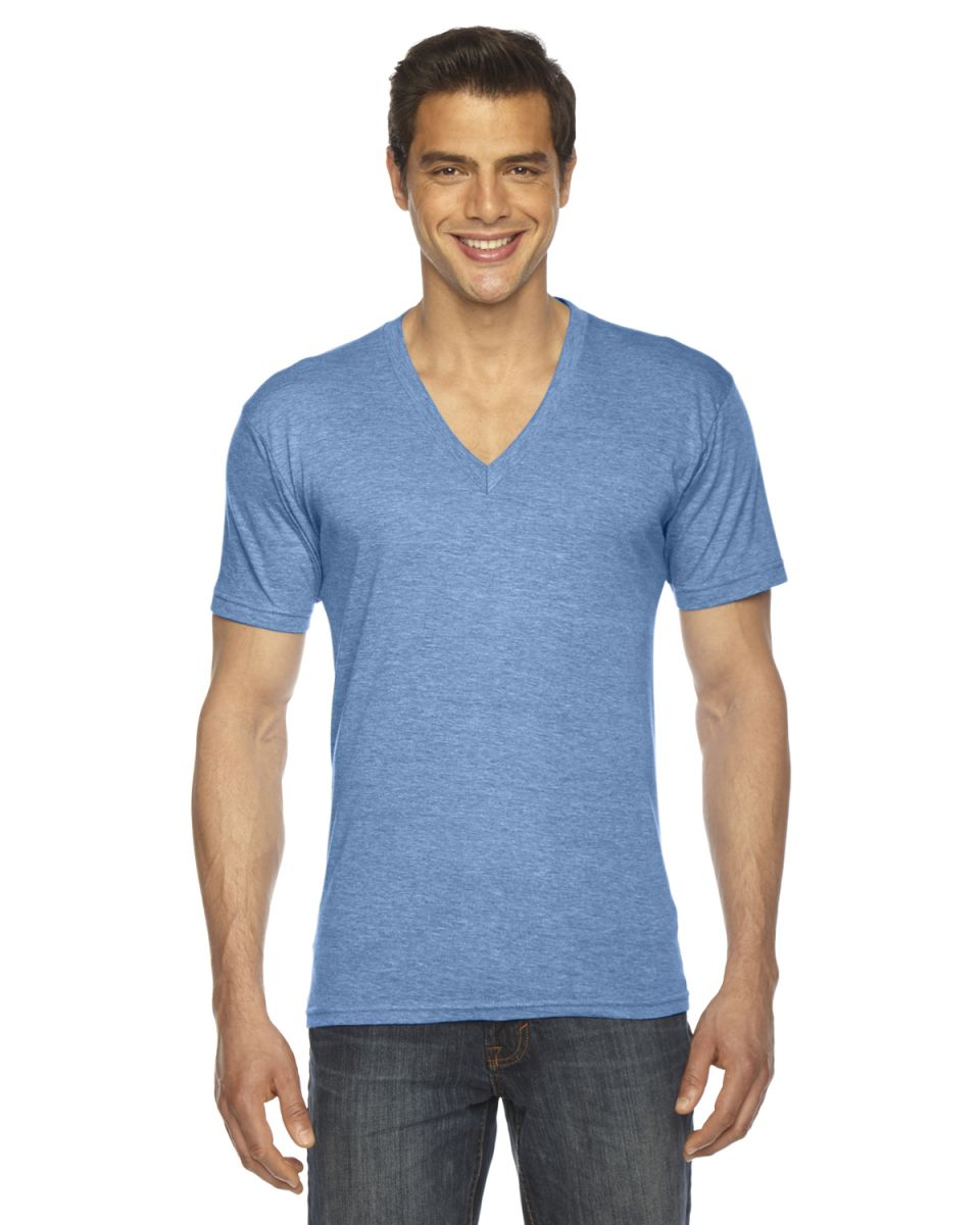 e8a3a20a1e2b American Apparel TR461 Unisex Tri-Blend V-Neck ATHLETIC BLUE