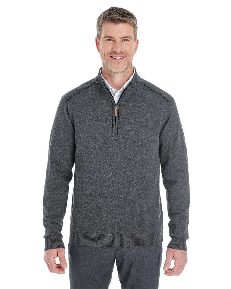 7b36a96dc9 DG478 Devon   Jones Men s Manchester Fully-Fashioned Quarter-zip Sweater DK  GREY HTH