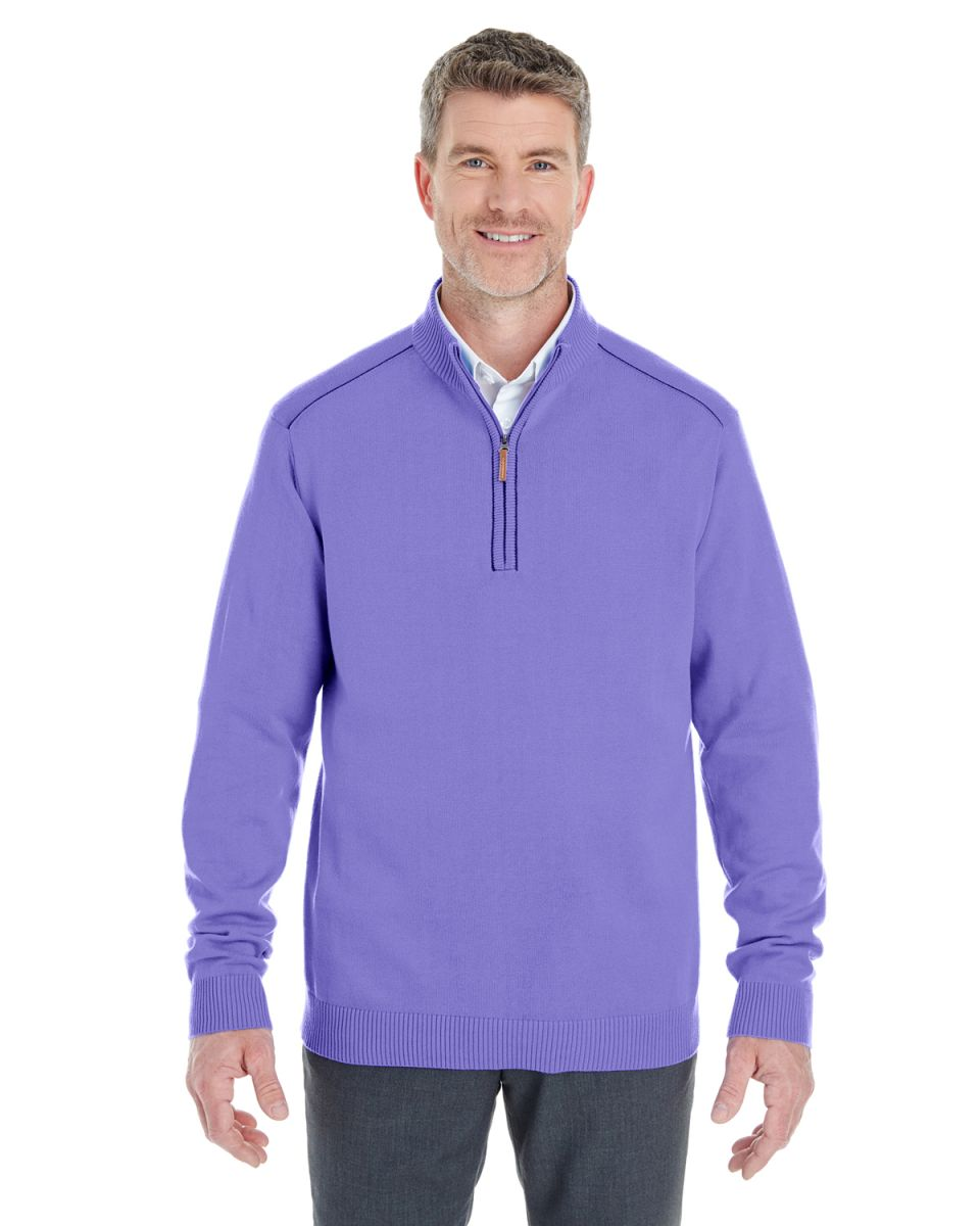 7a534cbe42 ... DK GREY HTH DG478 Devon   Jones Men s Manchester Fully-Fashioned  Quarter-zip Sweater GRAPE  ...