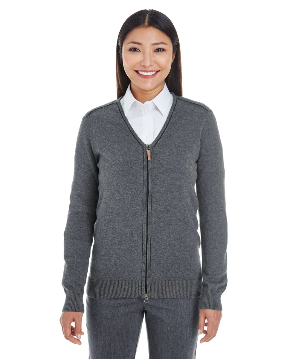 6666173ac2 DG478W Devon   Jones Ladies  Manchester Fully-Fashioned Full-zip Sweater DK  GREY