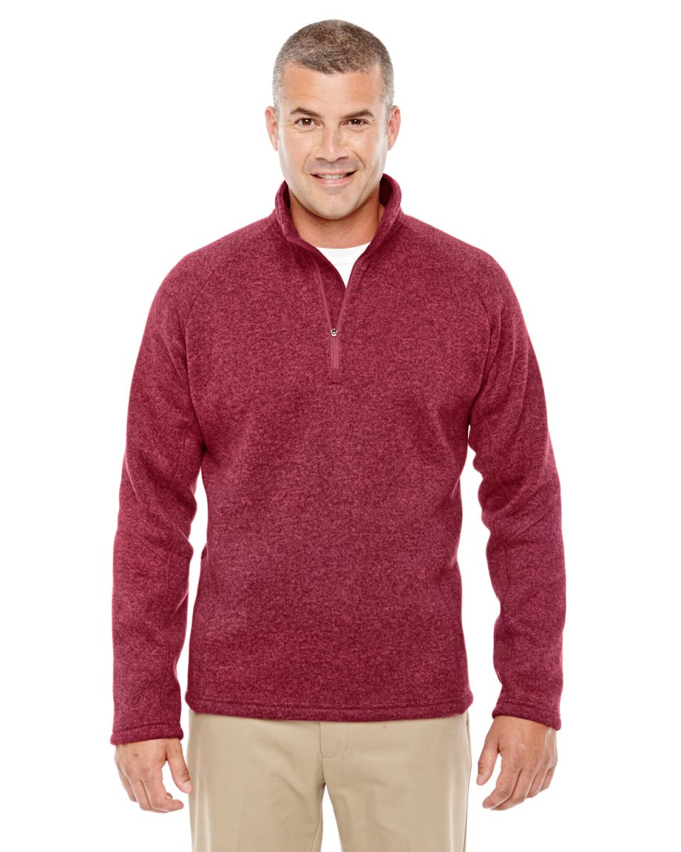 e1f8e691c60c ... DG792 Devon   Jones Adult Bristol Sweater Fleece Quarter-Zip RED  HEATHER ...