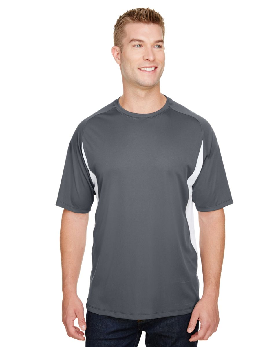 17dff464572c ... N3181 A4 Adult Cooling Performance Color Block Short Sleeve Crew  GRAPHITE/ WHITE ...