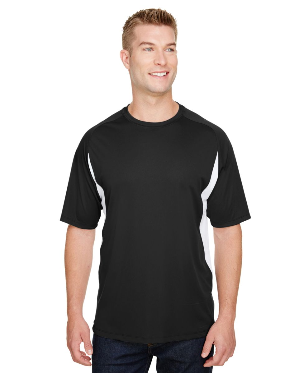 741814f1972b ... N3181 A4 Adult Cooling Performance Color Block Short Sleeve Crew BLACK/  WHITE ...