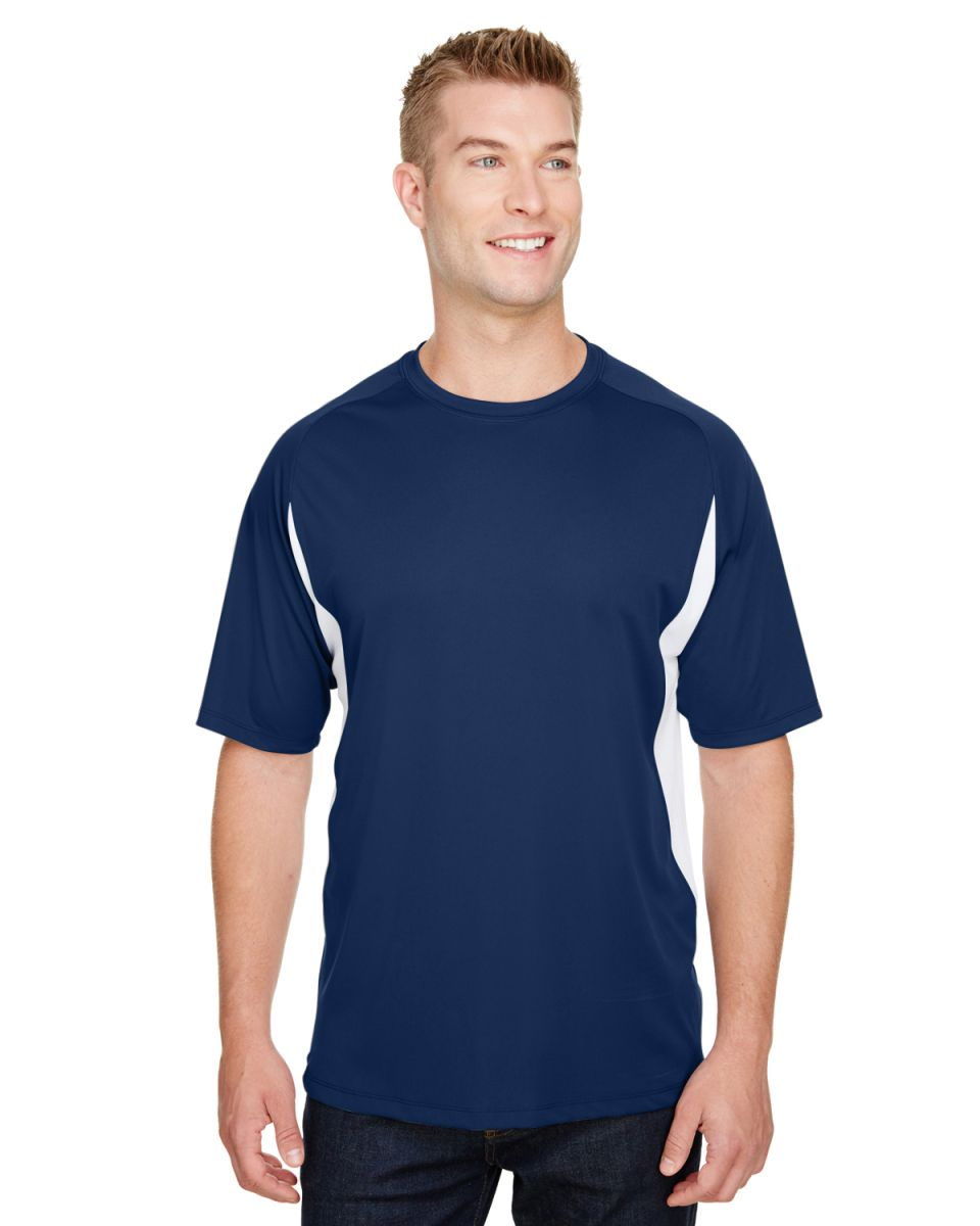2c340bd1d950 ... N3181 A4 Adult Cooling Performance Color Block Short Sleeve Crew NAVY/  WHITE ...