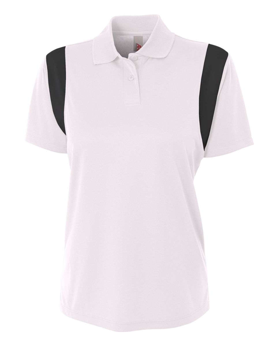 afe844611d NW3266 A4 Drop Ship Ladies' Color Blocked Polo w/ Knit Collar WHITE/ BLACK