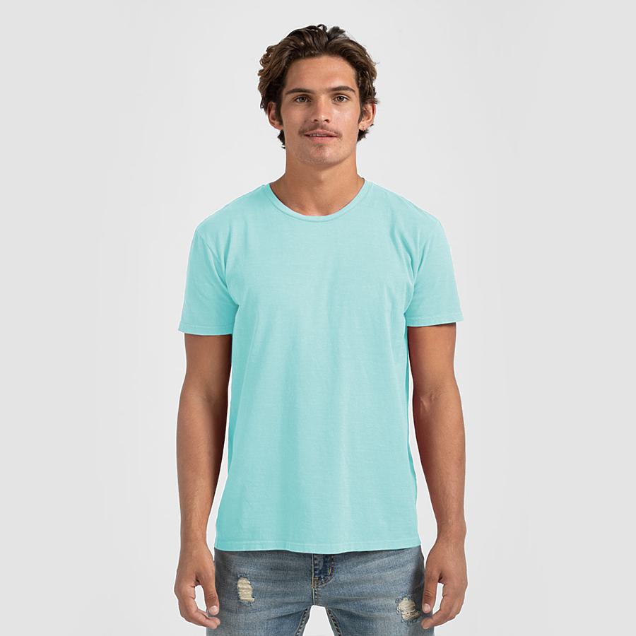Unisex Bleached Apparel Tultex Heather Purest Blue Wholesale Bleached T Shirt