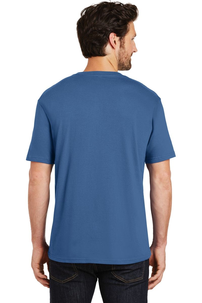 Maritime Blue Large District Made Mens Perfect Weight Long Sleeve Tee