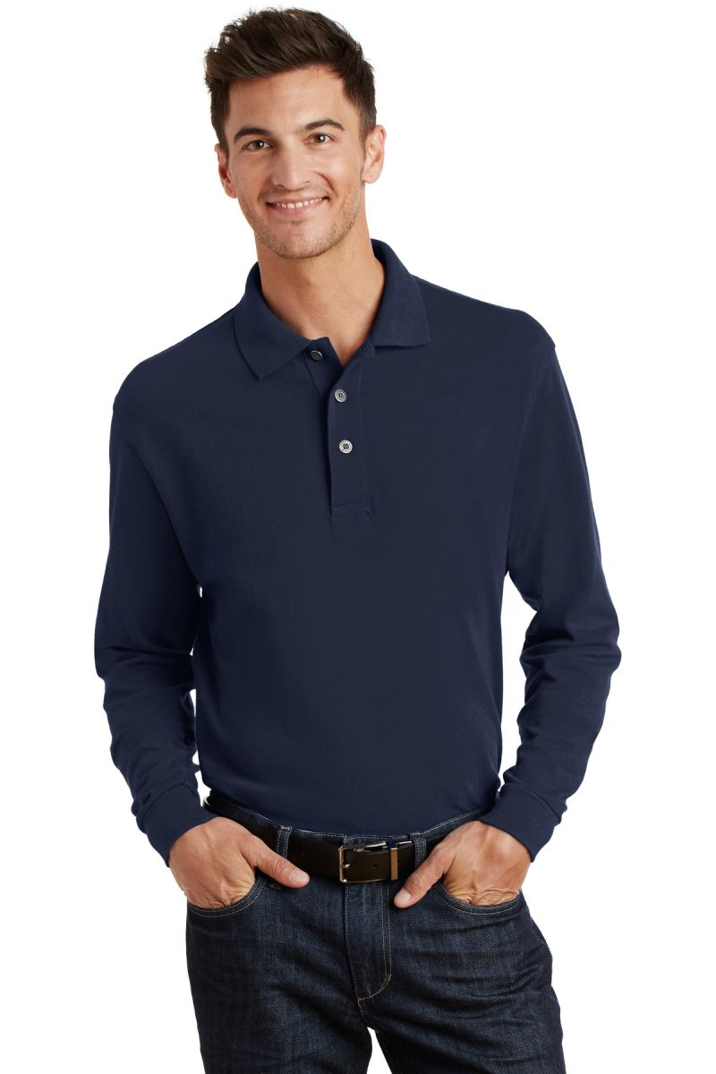 Port Authority Mens Heavyweight Long Sleeve Pique Knit Polo Shirt