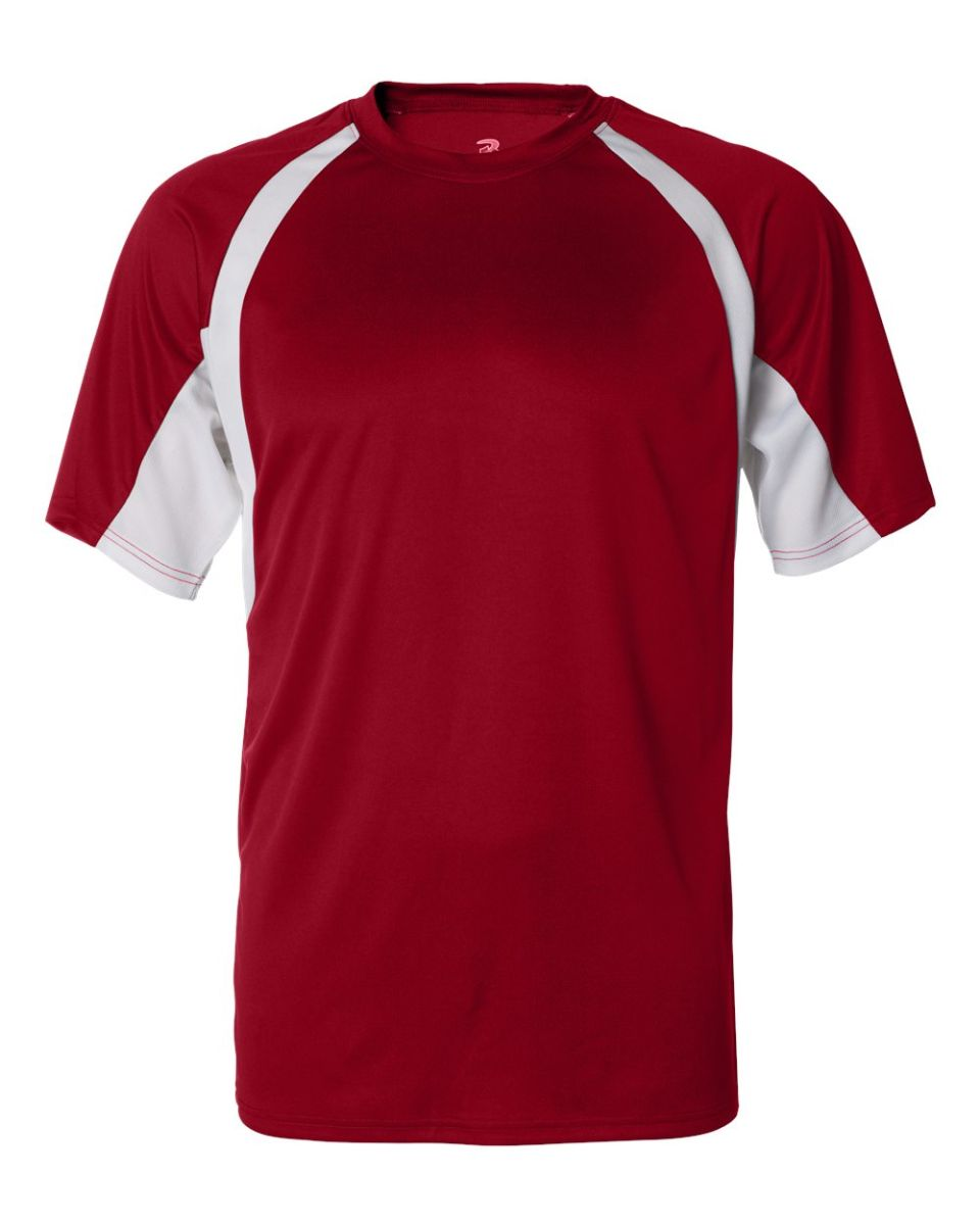 Badger Sport Youth Unisex B-Core Hook S//S Performance Tees Large White//Red