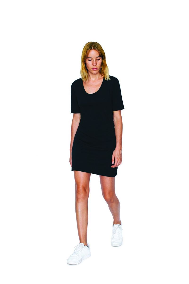 e72fd9a1619a7 American Apparel SA2314W Ladies' Fine Jersey Short-Sleeve T-Shirt Dress  Black