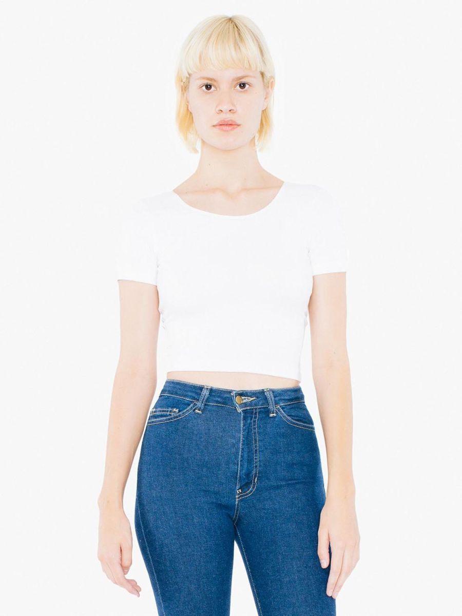 511532ae5df43 American Apparel SA8380W Ladies  Cotton Spandex Short-Sleeve Crop Top White