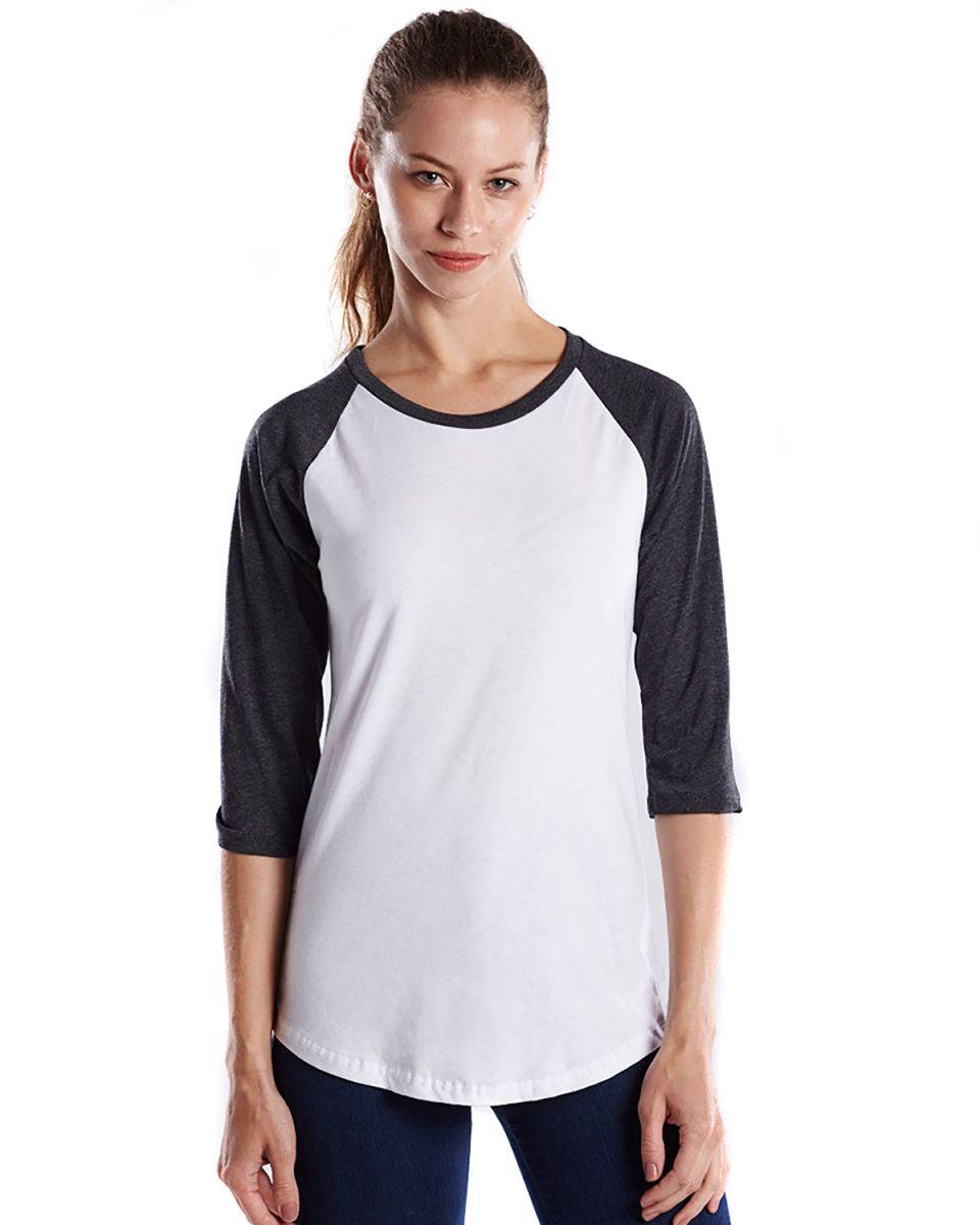 2f37af788ec US Blanks US600 Womens Raglan Baseball Tee White Charcoal