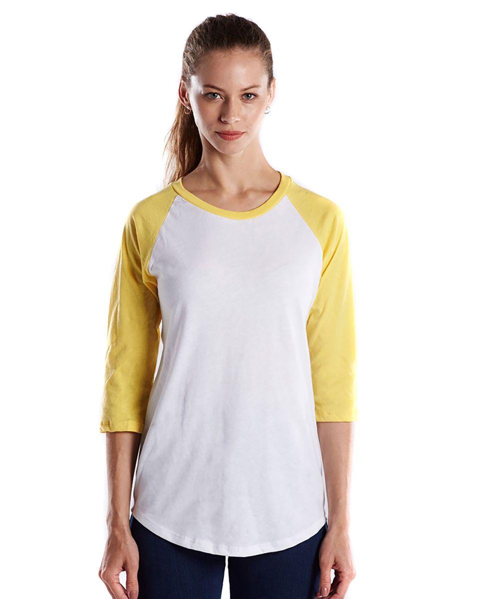 93ae899d ... US Blanks US600 Womens Raglan Baseball Tee White/Yellow ...