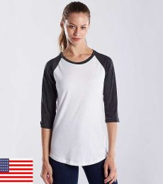 US Blanks US600 / Womens 3/4 Sleeve Baseball Raglan