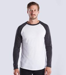 US Blanks US6600 Men's 4.3 oz. Long-Sleeve Triblend Baseball Raglan