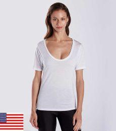 US Blanks US902 Ladies' 2.5 oz. Short-Sleeve Deep Scoop Neck Blouse
