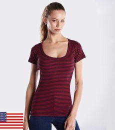 US Blanks US926 / Striped Short Sleeve Scoop Neck