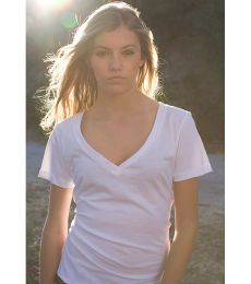 US Blanks US120OR Ladies' 4.3 oz. Organic Cotton Short-Sleeve V-Neck
