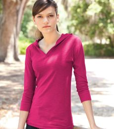 J. America - Ladies' ¾ Sleeve Hooded Slub Tee - 8153