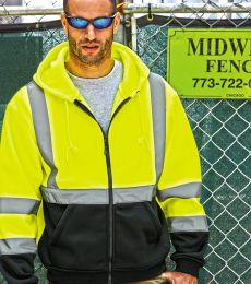 ML Kishigo JS102-103 Hi-Vis Hooded Full-Zip Sweatshirt