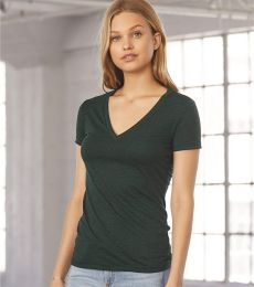 BELLA 8435 Womens Fitted Tri-blend Deep V T-shirt