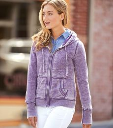 J America 8913 Women's Zen Fleece Full-Zip Hooded Sweatshirt