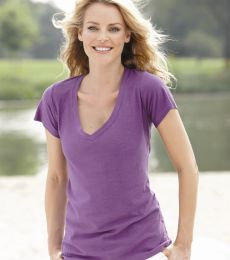 J America 8169 Ladies' V-Neck Slub T-Shirt